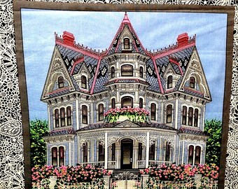 """Rare!  VICTORIAN MANSION HOUSE Fabric Pillow Panel - 100% Cotton - 16"""" x 22""""  from 1996 Pink & Gray"""
