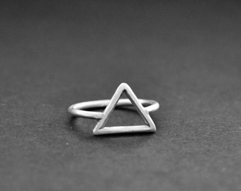 Triangle Ring Sterling Silver 925 Matte Finish Pyramid Geometric