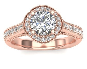 Rose Gold Halo Engagement Ring Beaded Halo 0.30ct Round Diamonds, for 0.75ct Round Center Semi Mount Brand New 14K Setting Only