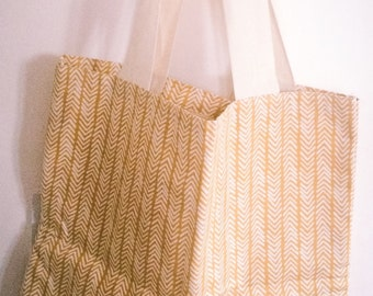 Handmade yellow chevron, herringbone print bag/tote with pocket