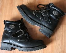 Vintage Harley Davidson Leather Boots