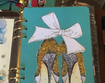 White Bow & Sparkle Gold Heels