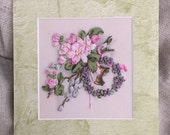 Silk Ribbon Embroidered Picture-Greeting Card,Handmade,Embroidered Easter Card,Home Decor,Easter Gift,Silk Ribbon Embroidery