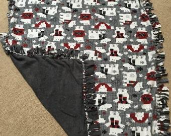 Polar Bear Fleece Tie Blanket