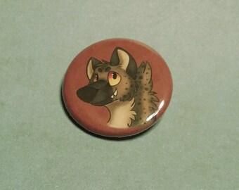 Hyena Pin Back Button - 1.25 Inch Handmade Art Pin