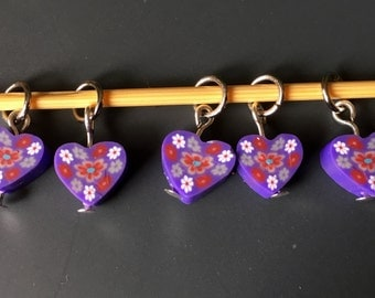 Purple Polymer Clay stitch markers - (Small Size)