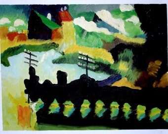 WASSILY KANDINSKY, Unique Oil Painting by hand after MURNAU 1909, Gift Rare Art as a Present. Something different for a Railway Train Lover