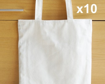 10 x Linen Tote Bags with inner pockets
