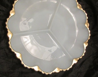 Anchor Hocking vintage Relish Plate white milk glass with gold trim sectioned