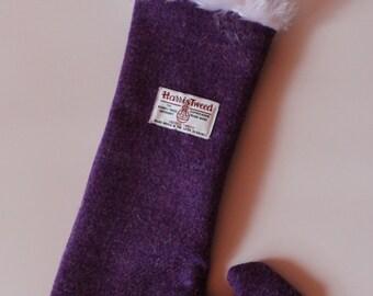 Quality Handmade Harris Tweed Purple Christmas Stocking