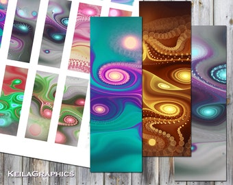 """Digital Collage Sheet - Instant Download - Rectangle Microscope Slide Size 1x3"""" - Printable Images - Fractal Swirls"""