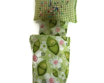 Weighted pin cushion with scrap bag, pin cushion, thread catcher, scrap bag with pin cushion, sewing room decor, sewing room gift