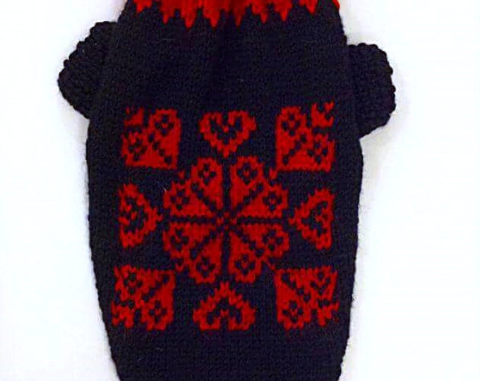 Knit Pattern Sweater For Dog. Pet Pattern Black Red Sweater. Knit Dog Pattern Handmade Clothing. Sweater for Dog. Dog Clothes. Size M