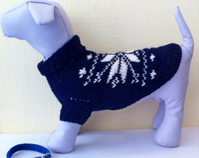 Knit Winter Warm Sweater For Dog.Dog Clothing.Deep Dark Blue Sweater For Dog.Pattern Clothes for Pets.Size M