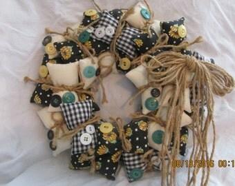 "Sunflower Gingham Vintage Button & Vintage Fabric Pillow Wreath 11"" Diameter Summer Spring"