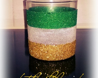 Striped Glitter Glass
