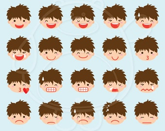 40 Boy Emojis Digital Clipart - PNG Format - Personal and Commercial Use
