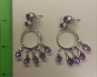 Sterling Silver .925 Earrings Amethyst
