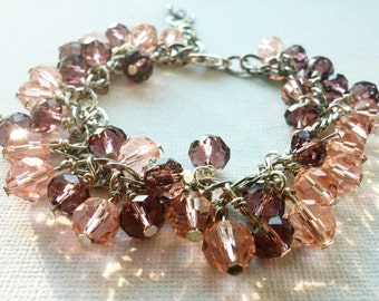 Purple and pink cluster bracelet, Silver colored, Purple and Pink beaded bracelet, Crystal bracelet, Glass bead bracelet - FREE SHIPPING