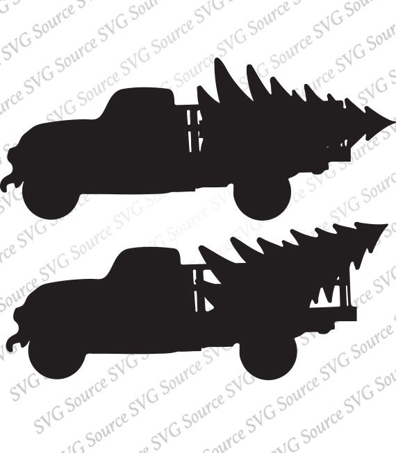 Christmas Tree Truck Svg Silhouette Graphic Download Dxf