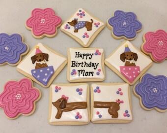 One dozen dachshund and flowers cookies