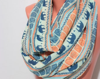Elephant Scarf Infinity Scarf Tribal Elephant Scarf Animal Print Scarf Women Fashion Accessories Gifts For Her