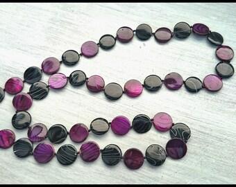 Purple & Black Shell Bead Necklace.