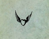 Winged Flying Heart SMALL - Antique Style Clear Stamp