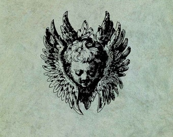 Winged Angel Cherub - Antique Style Clear Stamp