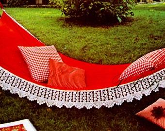 Crochet Hammock ** Canvas and Crochet Garden Hammock ** Home Decor ** Vintage PDF Crochet Pattern ** Garden Decor ** Instant Download