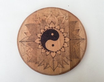 Pyrography circular yin yang lotus petal leaf wall art. Freehand wood burned bohemian artwork. Solid beech decorative wooden wall art.