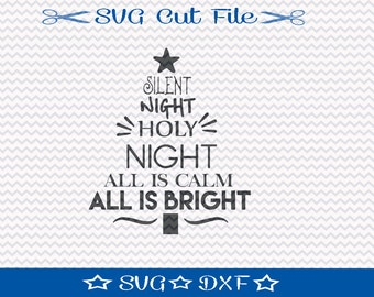 Christmas Tree SVG File, SVG Cut File for Silhouette, Xmas SVG, Happy Holidays, Christmas Word Tree svg, Silent Night Tree svg