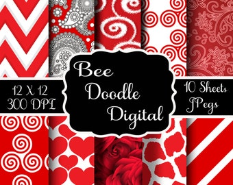 Digital Scrapbook Paper,  Printable Paper, Digital Paper, Digiscraps, Valentine Paper, Red, White
