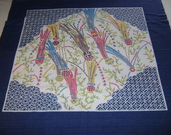 Vintage Furoshiki Large Fabric with multicolored clumps of Bamboo, Table Cloth, Wall Hangings, Craft Supplies