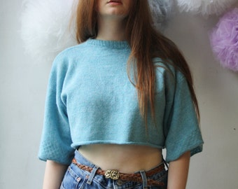 Oversized Knitted Cropped T-Shirt Jumper in Bright Blue