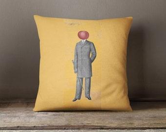 Throw Pillow, Yellow Pillow, Tomato Pillow, Photo Pillow, Surreal, Steam Punk, Decorative Pillow, Unique Pillow, Magritte, 18x18