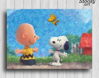 Charlie Brown and Snoopy poster friends print childrens room decor