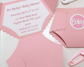 Baby Diaper Invitations! Baby Shower Invitations! Baby Girl Baby Shower Cards! Pink Diaper Cards! Diaper Die Cut Invitations! 6 Seal Choices
