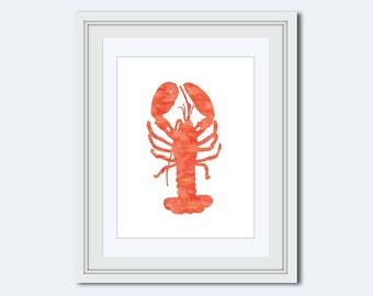 Lobster Printable - sea life print - lobster wall art - lobster Art Print - beach decor - lobster print - watercolor lobster - Printable Art