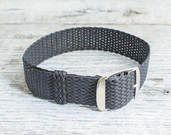 Black perlon strap ( 18mm ) waterproof nylon strap, watch strap, watch band, perlon band