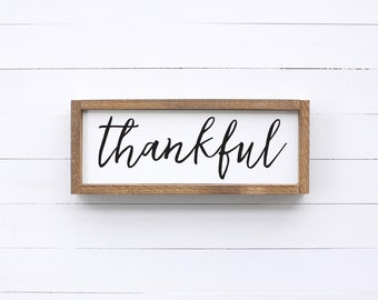 Thankful Wood Sign | Framed Wood Sign | Fixer Upper | Farmhouse Sign | Rustic | Gallery Wall | Entryway Decor