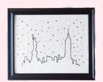 New York skyline cross stitch wall decor ~ Finished cross stitch wall decor