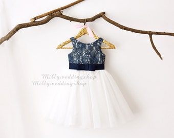 Navy Blue Lace Ivory Tulle Flower Girl Dress M0029