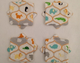Set of 8 small wipes washable cotton and sponge