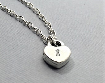 Silver Heart Lock Necklace.Heart Lock Charm.Heart Jewelry.Simple Silver Necklace.Lock Charm Necklace.Love.Romance.Everyday Gift for Her