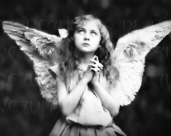 Angel Photography ,  Angel Art ,  Guardian Angel Praying , Angel Art Photo ,  Religious Art ,  Angel Gift ,  Wall Art , Guardian Angel