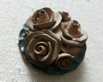 Hand made vintage clay brooch with roses, beautiful finish and mint condition