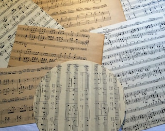 Vintage Music Ephemera, Music Ephemera, Scrapbooking Pack,Epemera, Round Ephemera Shapes, Flower Shaped Ephemera, Heart Shape Ephemera