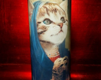 Tiger Kitty Cat Praying - Feline Saint Prayer Candles - Pet Candle Tribute