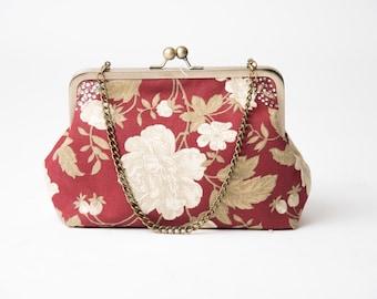 Classic day clutch, floral clutch, multicolor clutch, designer fabric clutch, kiss lock frame clutch, vintage clutch, roomy clutch,